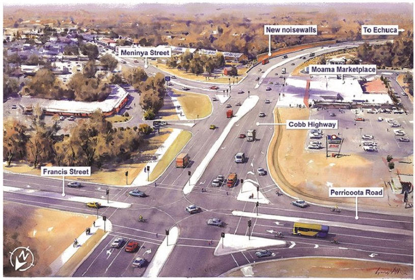 Moama intersection upgrade. Artist's impression of the proposed intersection.