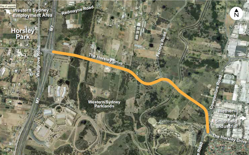 Map of the affected area of the Horsley Drive upgrade at Horsley Park