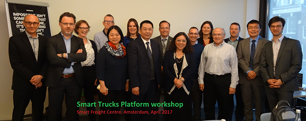 Mark Gjerek (3rd from right) of GTP joins representatives of other nations at the Smart Truck Platform meeting, Amsterdam