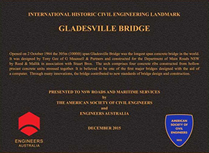 Commemorative plaque stating that Gladesville Bridge is an international historic civil engineering landmark.
