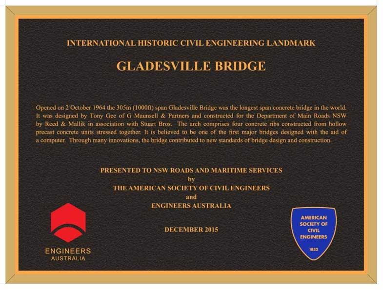 Commemorative plaque marking the recognition of the Gladesville Bridge as an International Historic Civil Engineering Landmark.