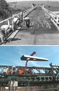Timber bridges - then (top) and now (bottom)