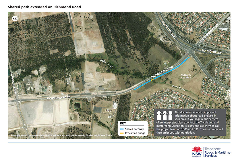 Diagram of shared path extended on Richmond Road
