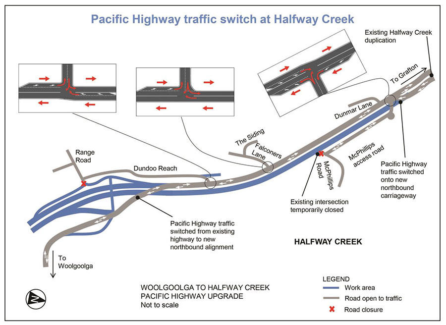 Pacific Highway traffic switch at Halfway Creek