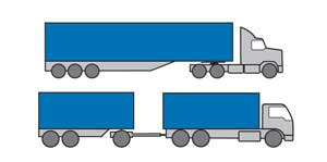 Examples of Heavy Combination vehicles - prime mover and trailer with three or more axles, heavy rigid vehicle with dog trailer