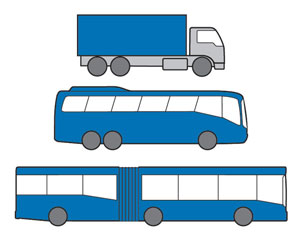 Examples of Heavy Rigid vehicles - truck with three axles, rigid bus with three axles, articulated (bendy) bus.
