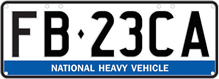 Example national heavy vehicle number plate - black characters on a white background with a blue sash across the bottom