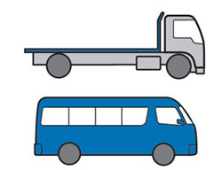 Examples of Light Rigid vehicles - small truck, 12 seater bus.
