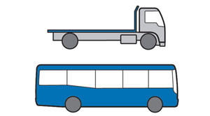 Examples of Medium Rigid vehicles - larger truck and bus with two axles