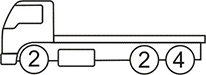 Axle layout for R13 code - 2 at the front and a set of 2 and a set of 4 at the back
