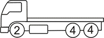 Axle layout for R14 code - 2 at the front and a set of 2 sets of 4 at the back