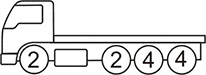 Axle layout for R15 code - 2 at the front and a set of 2 and two sets of 4 at the back