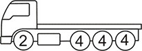 Axle layout for R16 code - 2 at the front and three sets of 4 at the back