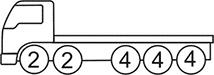 Axle layout for R26 code - two sets of 2 at the front and three sets of 4 at the back