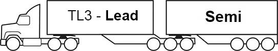 Example - image of a TL3 lead trailer with semi trailer attached (B-double)