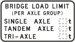 Bridge load limit (mass per axle group) sign. Road Rules 2008 (rule 103)