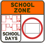 Sample sign: Non-standard school zones are clearly identified as school zones and distinguished from standard zones by their design including an orange banner across the top and red lettering.