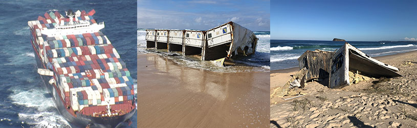 Photo of the containers on boat and Photos of containers washed up on beach.