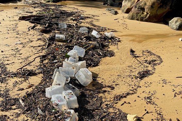 Plastic containers from the spill washed up on Store Beach
