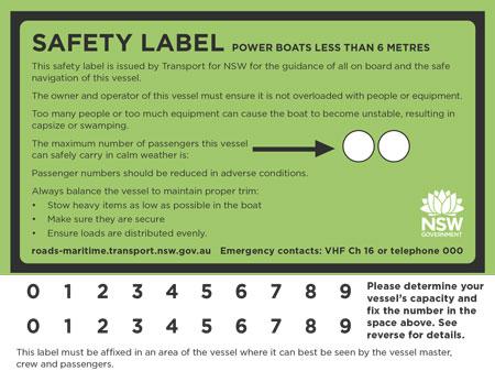 Registration number, safety label & builders plate - Registration
