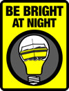 logo of a lightglobe with a boat inside with yellow background and text 'Be bright at night'