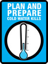 logo of a thermometer with blue background and text 'Plan and prepare - Cold weather kills'