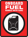 logo of a petrol tin with red background and text 'Onboard fuel - handle with care'