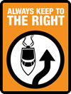 logo of a boat with an arrow to the right with orange background and text 'Always keep to the right'