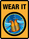 logo of a lifejacket with orange background and text 'Wear it'