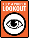 logo of an eye with orange background and text 'Keep a proper lookout'