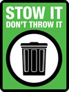 logo of a rubbish bin with green background and text 'Stow it - Don't throw it'