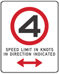 White sign with black number 4 inside red circle and text 'speed limit in knots beyond this point'
