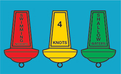 Three aquamark minibuoys, red with 'no swimming', yellow with '4 knots' and green with 'shallow waters' in text