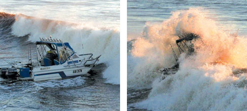 Two photos, showing a boat about to cross a bar, and then during the crossing with the boat almost entirely swamped by the surf.