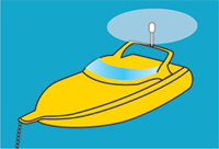 Diagram showing an all-round white light on a power boat at anchor.