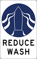 Reduce Wash sign - blue representation of boat and wash on a white background.