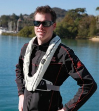 Example of a man wearing a level 100+ inflatable lifejacket
