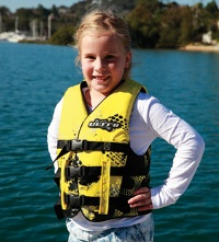 Example of a girl wearing a level 50 lifejacket.