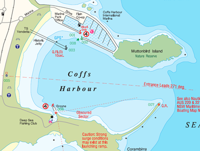 Boating map view of Coffs Harbour