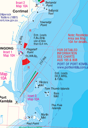 Boating map view of Port Kembla entrance