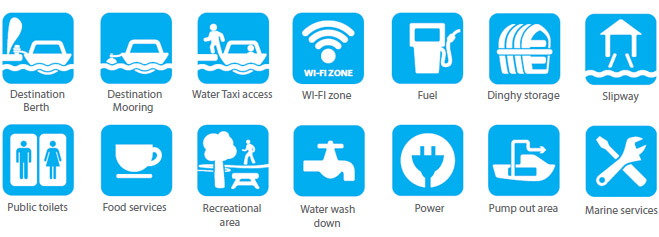 14 blue and white symbols identifying the services and amenities that may be available at a Destination