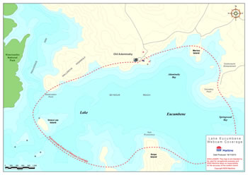 Map of webcam coverage area (click for a larger version): Lake Eucumbene, across an area bounded by Old Adaminaby, Merino Island, Cemetary Point, Springwood Bay, Snipe Island, Grace Lea Island and Observation Point. DISCLAIMER: This map is not intended to be used for navigational purposes and NSW Maritime takes no responsibility for the accuracy of the content herein. Copyright NSW Maritime.