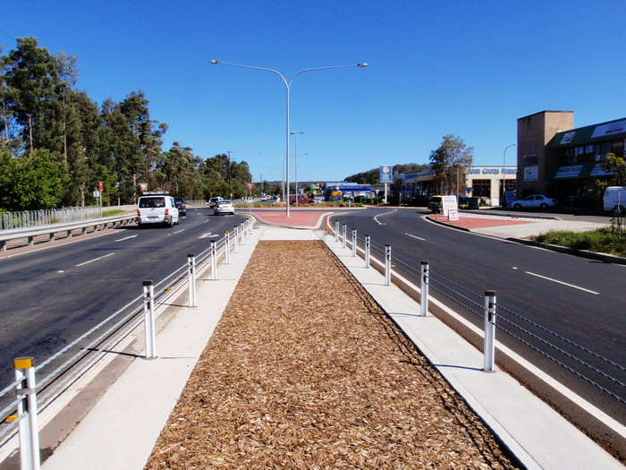 View along an upgraded section of road at Tuggerah, showing the wide median strip
