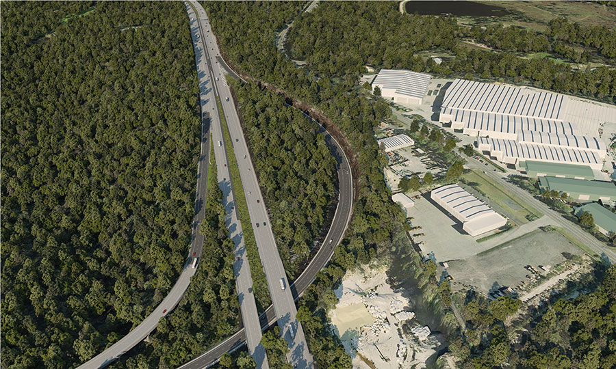 Artist impression aerial view of M1 Motorway at the Kariong interchange looking south