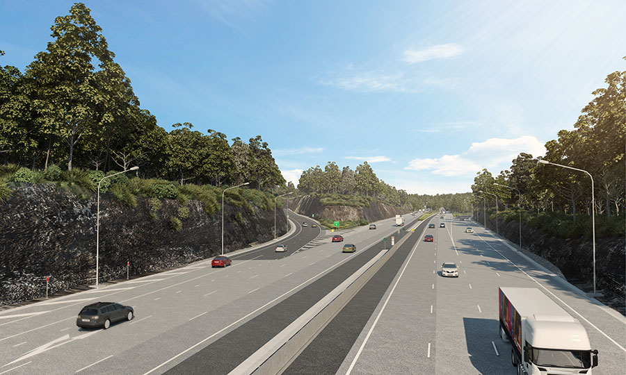 Artist impression of M1 Motorway northbound with view of exit ramp to Gosford at Kariong interchange
