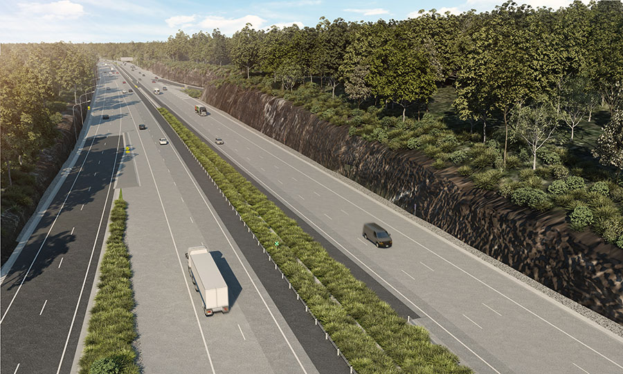 Artist impression of M1 Motorway at Kariong interchange (southbound on-ramp) looking south