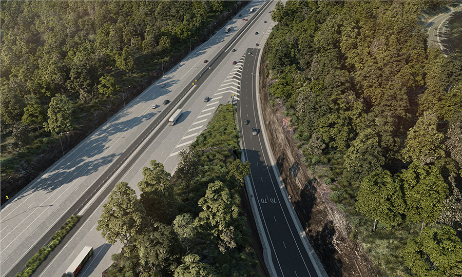 Artist impression aerial view of M1 Motorway at Kariong interchange (northbound off-ramp to Gosford)