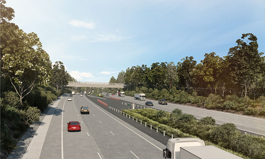 Artist impression of M1 Motorway at Reeves St overbridge and crossover looking north