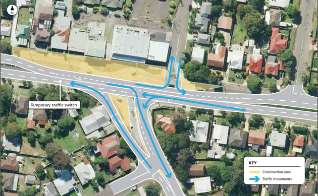 Traffic changes at Tumbi Road and Wyong Road map