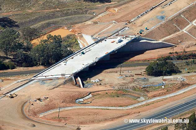 An aerial image of construction on the Kapooka Bridge.